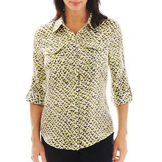 Lark Lane Frosted Birdseye Print Button Front Shirt, White