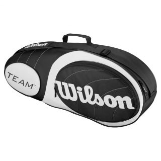 Wilson Team 3 Pack Tennis Bag Black and Silver