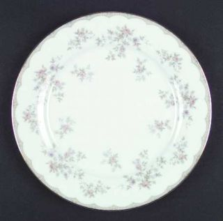 Noritake Roberta Dinner Plate, Fine China Dinnerware   Tan Band/Lines, Pastel Fl