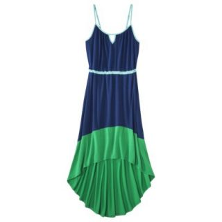 Merona Womens Knit Colorblock High Low Hem Dress   Waterloo Blue/Mahal Green