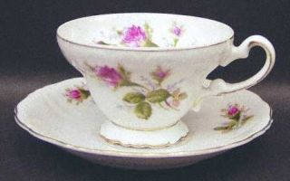 Royal Sealy Moss Rose Footed Cup & Saucer Set, Fine China Dinnerware   White Bac