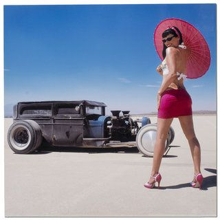 Bonneville Retro/modern Hot Rod Pin up Girl Garage/man Cave Metal Wall Art (MediumSubject: AmericanaMatte: Clear/GlossMedium: Acrylic Ink Application on SteelImage dimensions: 22 inches high x 22 inches wide x 1/2 inch deepOuter dimensions: 22 inches high