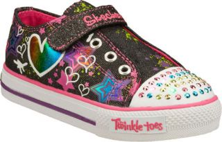 Infant/Toddler Girls Skechers Twinkle Toes Shuffles Lil Superstyle   Black/Pink
