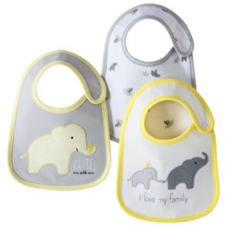 Just One YouMade by Carters Newborn 3 Pack Elephant Family Bib Set   Grey
