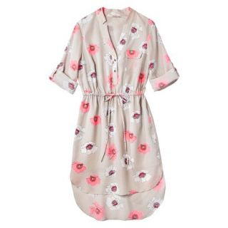 Merona Womens Drawstring Shirt Dress   Pink Floral   XS