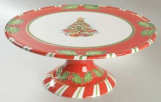Christopher Radko Letters To Santa Footed Cake Plate, Fine China Dinnerware   Sa