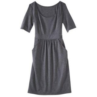 Merona Womens Ponte Elbow Sleeve Dress w/Pockets   Heather Gray   L