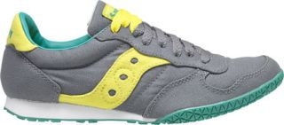 Womens Saucony Bullet Vegan   Dark Grey/Yellow Casual Shoes