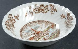 Johnson Brothers Tulip Time Brown/Multicolor Coupe Cereal Bowl, Fine China Dinne
