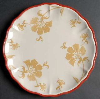 Home Somerset Floral Dinner Plate, Fine China Dinnerware   Tan Floral,Embossed,S