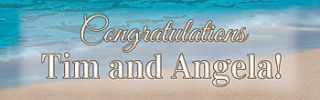 Sandy Beach Personalized Vinyl Banner    24 x 72 Inches