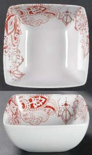 Jaclyn Smith Zanzibar Soup/Cereal Bowl, Fine China Dinnerware   Red Paisley Flor