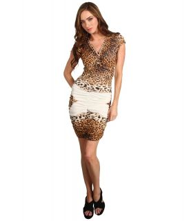 Just Cavalli Leopard Print Ruched Dress Womens Dress (Beige)