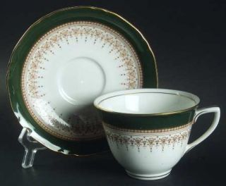 Royal Worcester Regency Green & Brown (Newer) Flat Cup & Saucer Set, Fine China