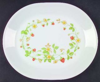 Corning Strawberry Sundae 12 Oval Serving Platter, Fine China Dinnerware   Core