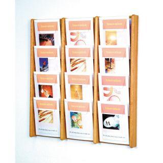 12 Pocket Solid Wood Wall Magazine Rack   AC34 12MH
