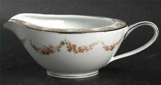 Noritake Denise Creamer, Fine China Dinnerware   Gray Scrolls, Brown Flower Swag