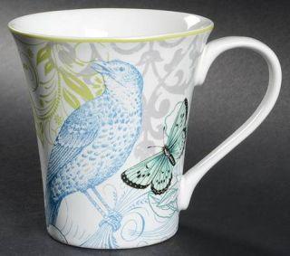 222 Fifth (PTS) Bergerac Blue Mug, Fine China Dinnerware   Yellow Floral,Blue Bi