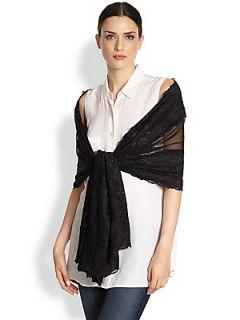 Ilana Wolf Lace & Silk Scarf   Black