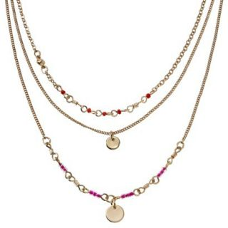 Womens Short Beaded Multi Strand Chain Necklace with Metal Discs