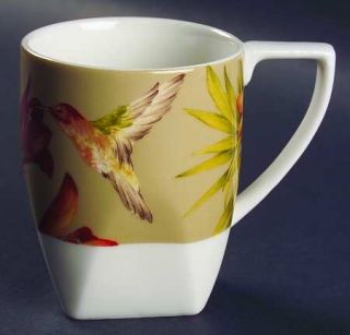 222 Fifth (PTS) Antigua Mug, Fine China Dinnerware   Red Flowers & Butterfly,Hum