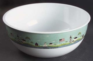 Sakura Coastal Breeze 12 Large Plastic Salad Serving Bowl, Fine China Dinnerwar