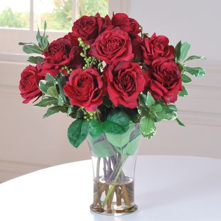 A Dozen Red Roses In Glass Vase 20 Inches Red