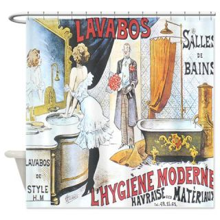 Vintage French Perfume Ad Shower Curtain Use Code FREECART At Checkout