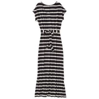 Merona Petites Short Sleeve V Neck Maxi Dress   Black/Cream XLP