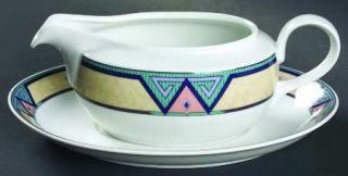 Christopher Stuart Montero Gravy Boat & Underplate, Fine China Dinnerware   Tan
