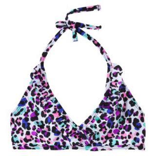 Xhilaration Girls Leopard Print Halter Bikini Top   White L