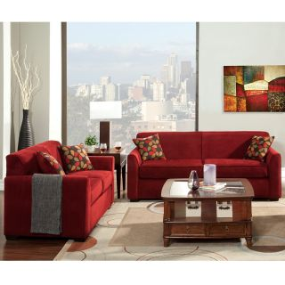 Furniture Of America Crimson Red 2 piece Contemporary Fabric Sofa And Loveseat Set (2 piece)