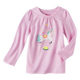 Circo Infant Toddler Girls Long sleeve Carosel Horse Tee   Pink 24 M