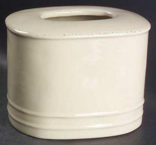 Vietri (Italy) Crema Tissue Holder, Fine China Dinnerware   Cream Body, Bubbled