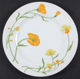 Jardin Angela Salad Plate, Fine China Dinnerware   Yellow/Orange Floral,Green Le