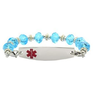 Hope Paige Turquoise Crystal Bracelet w/Plate   Turquoise   7 1/4   8.5