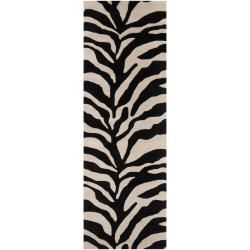 Hand tufted Black/white Zebra Animal Print Morph Wool Rug (26 X 8)
