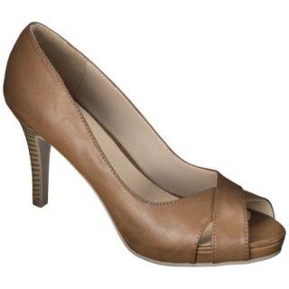 Womens Xhilaration Angela Peep Toe Pump   Cognac 6.5