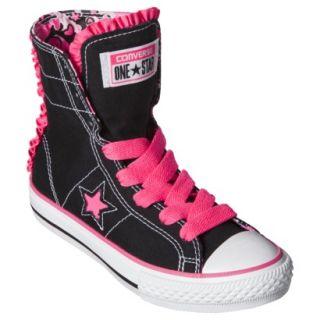 Girls Converse One Star Convertable High Top Sneaker   Black/Pink 3.5