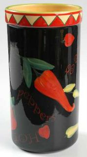 Red Hot Wine Cooler, Fine China Dinnerware   Red & Yellow Edge,Hot Peppers,No Tr