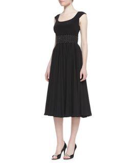 Womens Cap Sleeve Beaded Waist Tea Length Cocktail Dress, Black   Kay Unger