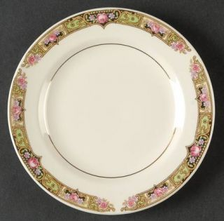 Edwin Knowles Chartreuse Bread & Butter Plate, Fine China Dinnerware   Pink Rose