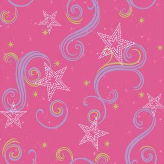 Star Glitter Wallpaper   Pink/Purple/Green