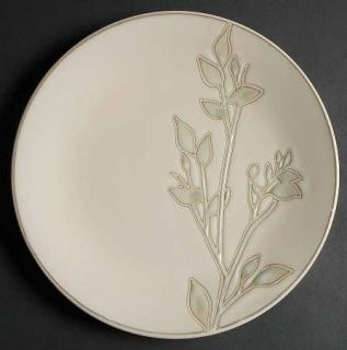 Home Trends Foli Dinner Plate, Fine China Dinnerware   Green Leaves On White,Cou