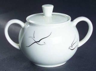 Arzberg Silver Flight Sugar Bowl & Lid, Fine China Dinnerware   Black & Silver B