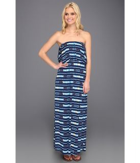 Tbags Los Angeles Layered Ruffle Tube Long Dress w/ Cut Out Back Womens Dress (Blue)