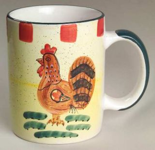 Baum Brothers Red Check Rooster Mug, Fine China Dinnerware   Abstract Rooster, R