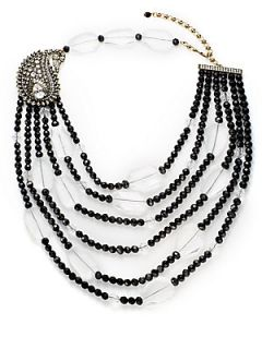 Divine Miss Paisley Beaded Multi Row Necklace   Black Clear