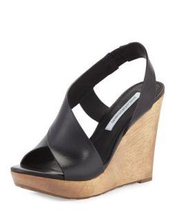 Sunny Cutaway Leather Wedge, Black   Diane von Furstenberg