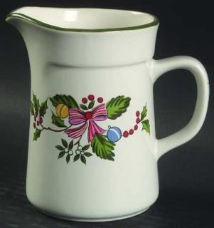 International Noel (Band 1/4 From Edge) Creamer, Fine China Dinnerware   Green